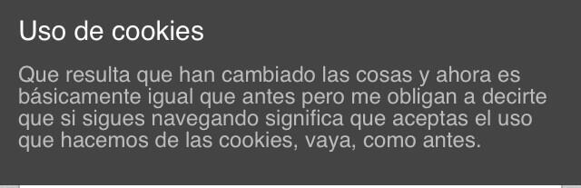 Aviso de cookies muy epico