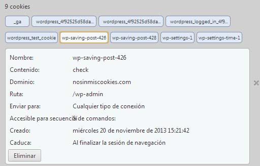 Ejemplo de unas cookies almacenadas en el navegador