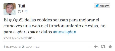 Tweet sobre el uso de las cookies
