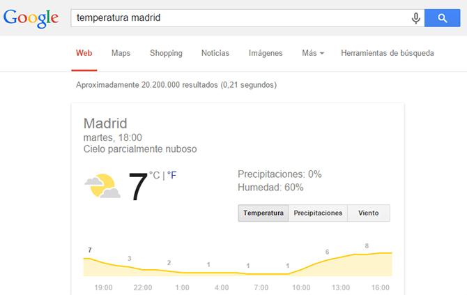 Resultados inmediatos de Google con el tiempo