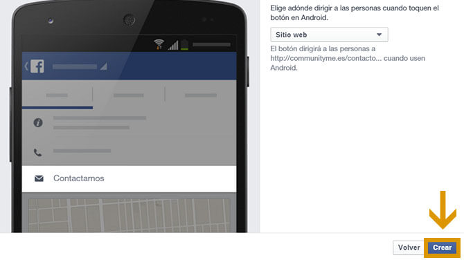 Crear call to action en una página de fans