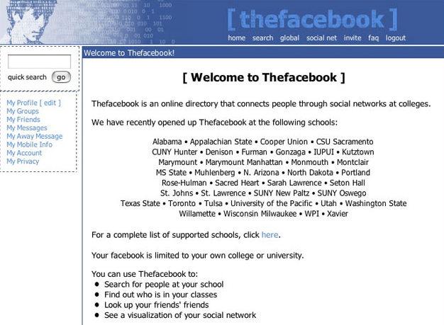 Primero diseño de Facebook
