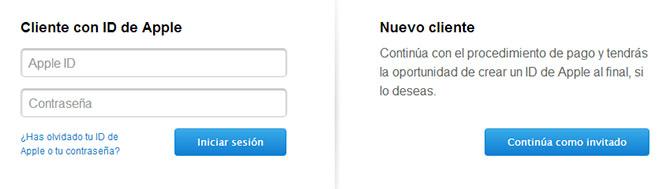Comprar como usuario registrado o como invitado