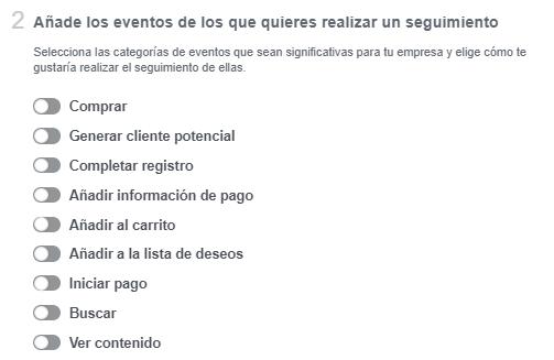 configurar eventos pixel facebook